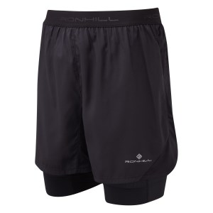 Ronhill Tech Revive Twin Mens Running Shorts - All Black